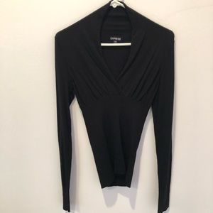 Express Black Fitted V-Neck Sweater Sz Small